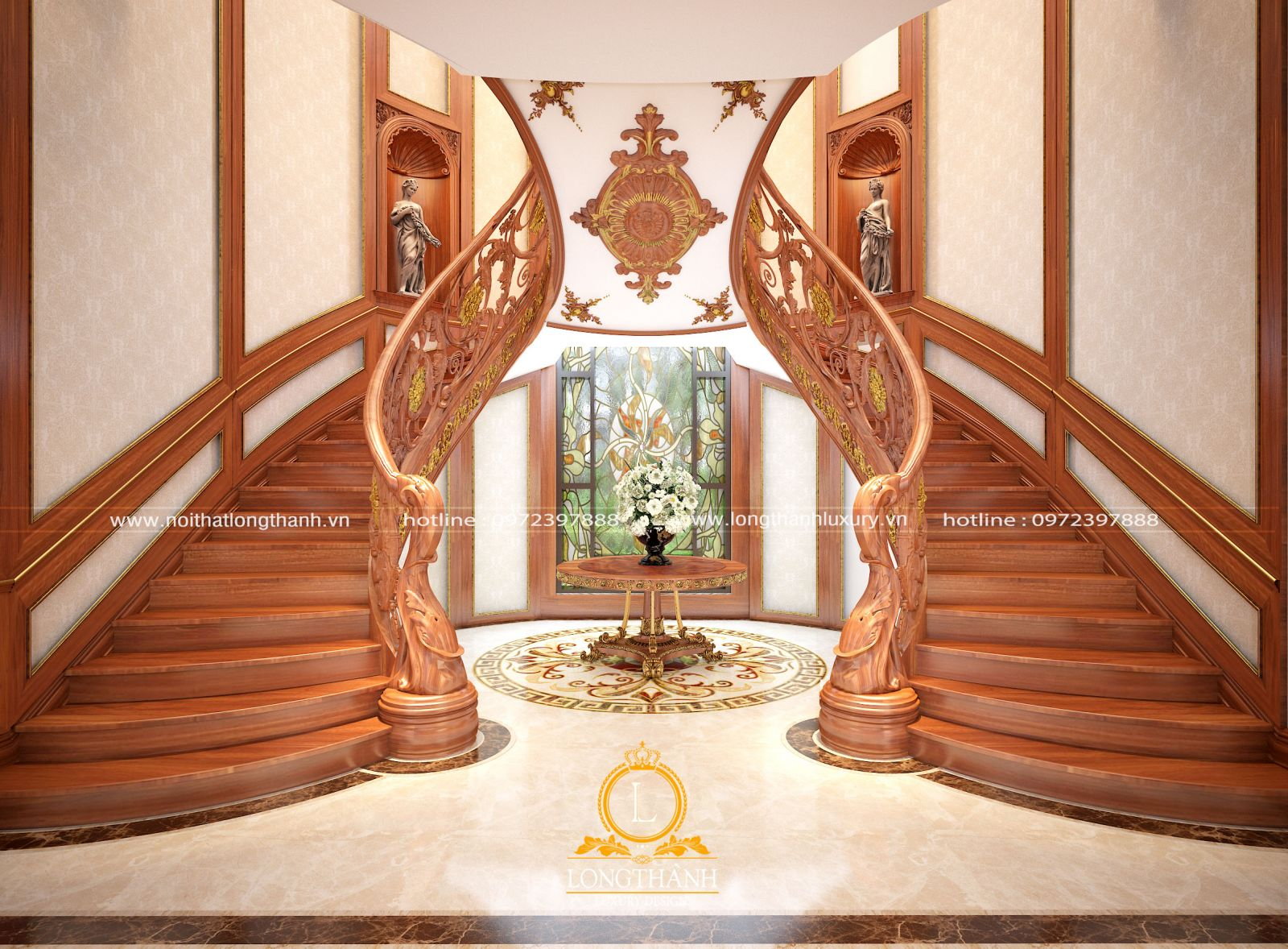 Cầu thang gỗ cổ điển ấn tượng