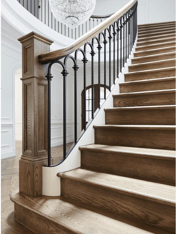 Cầu thang gỗ kết hợp kim loại