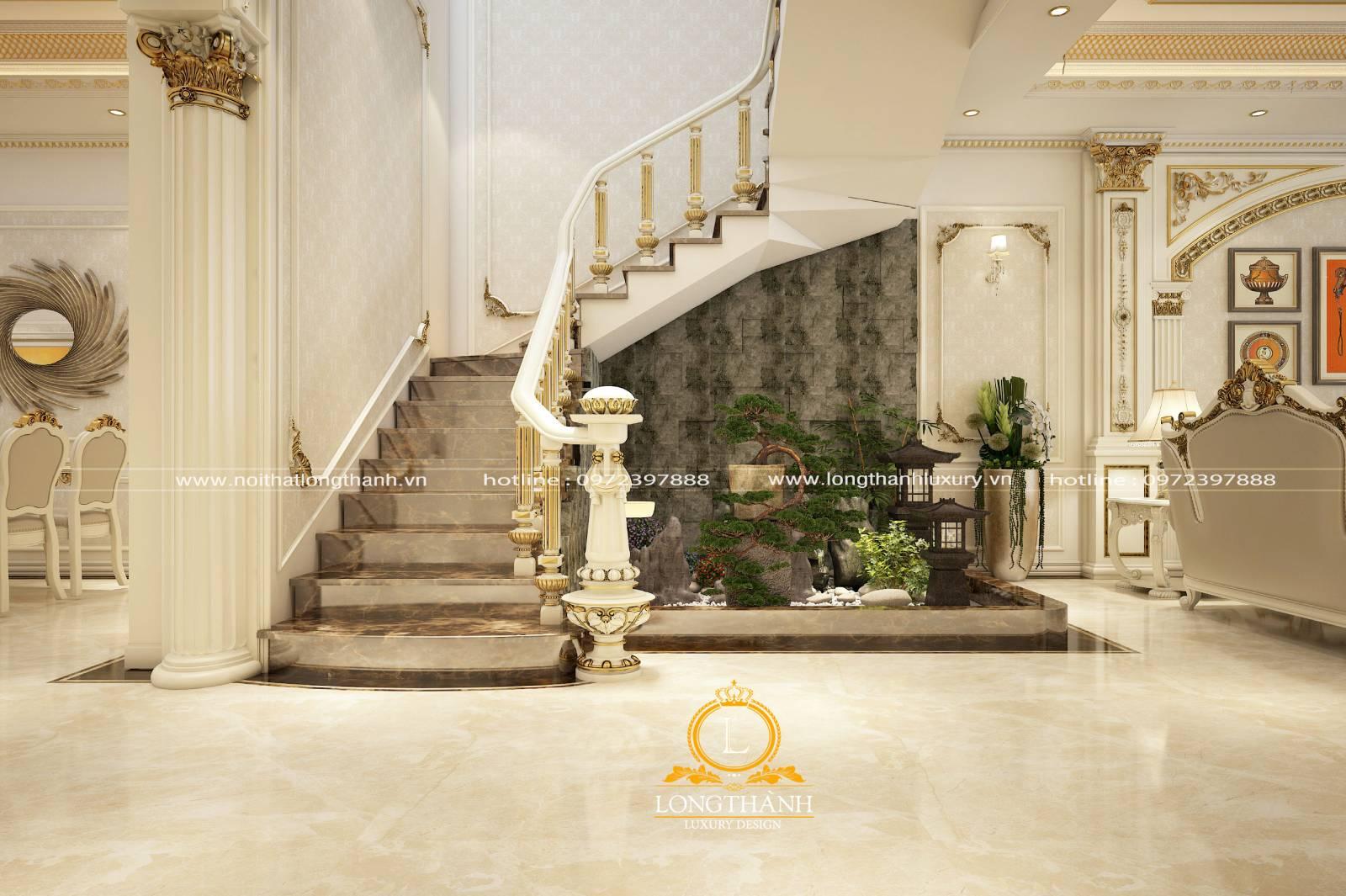 Cầu thang phòng khách biệt thự được thiết kế rộng và nhiều chi tiết hơn