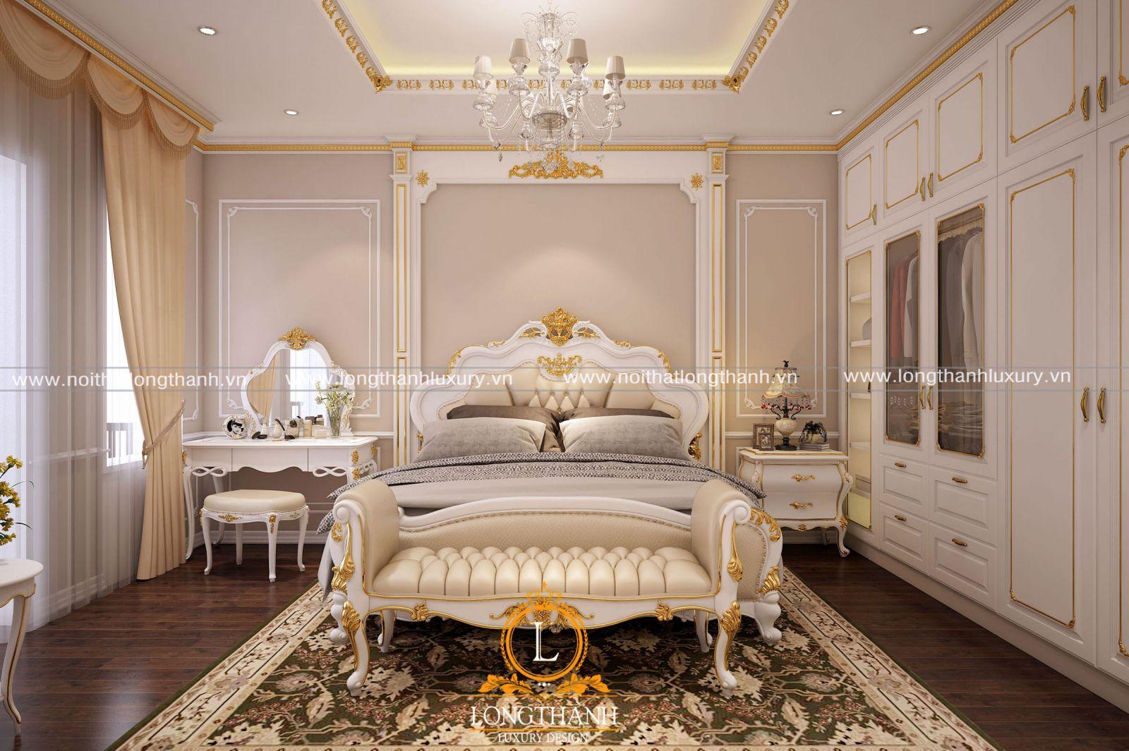Thiết kế phòng ngủ biệt thự song lập tân cổ điển với nhiều chất liệu khác nhau