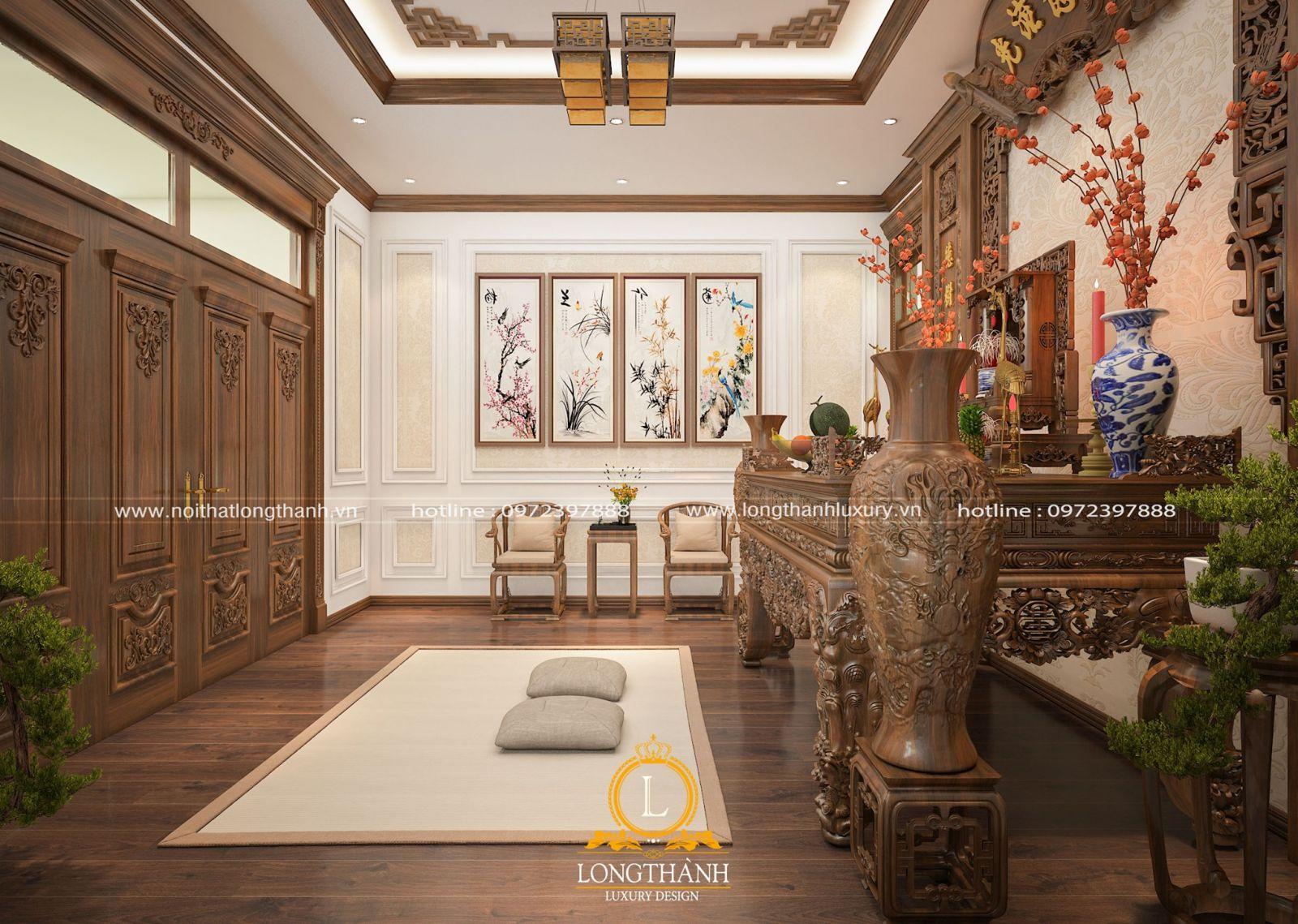 Thiết kế nội thất phòng thờ với bố cục tranh treo phong thủy