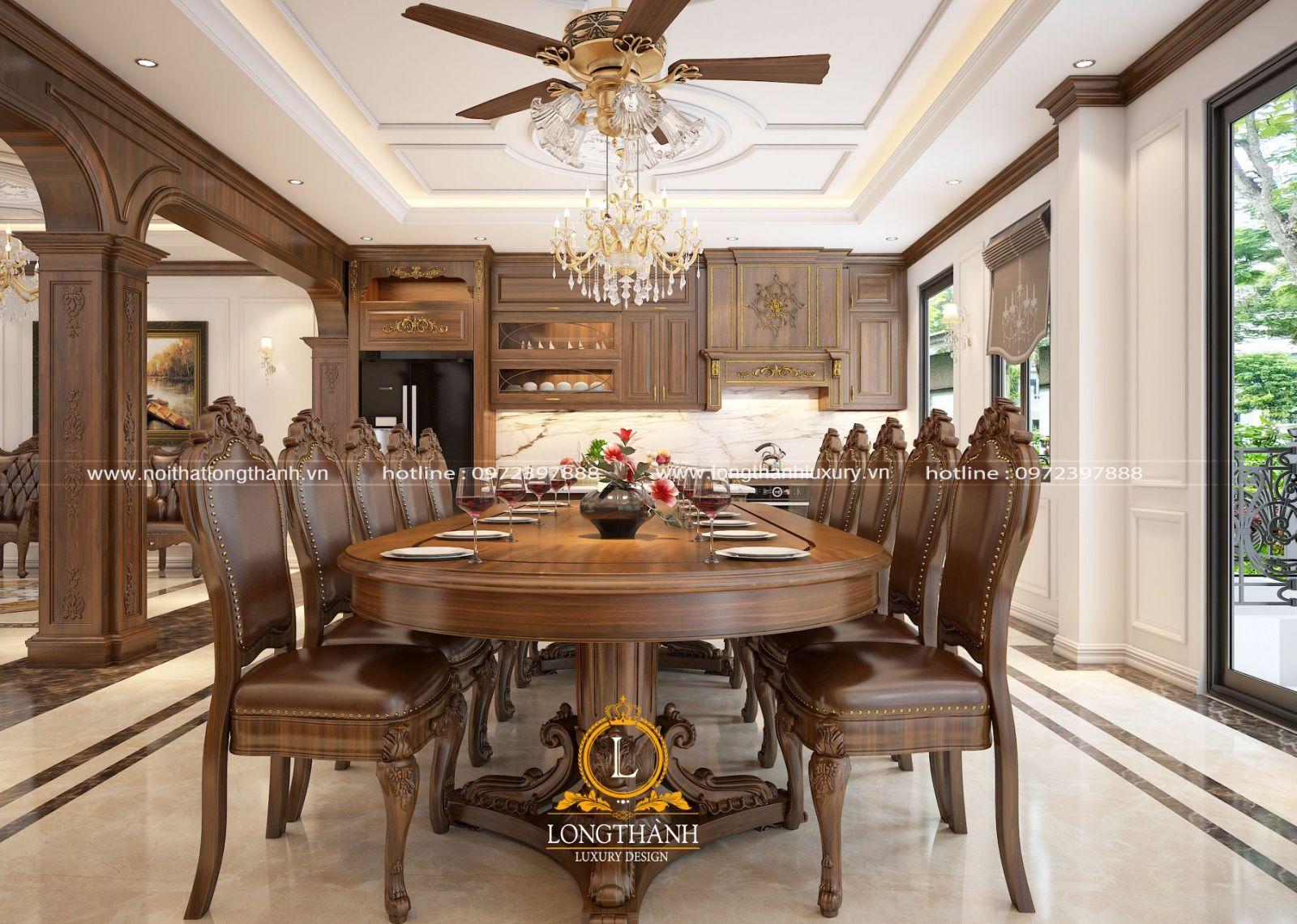 Thiết kế phòng ăn - bàn ghế ăn tân cổ điển cực đẹp