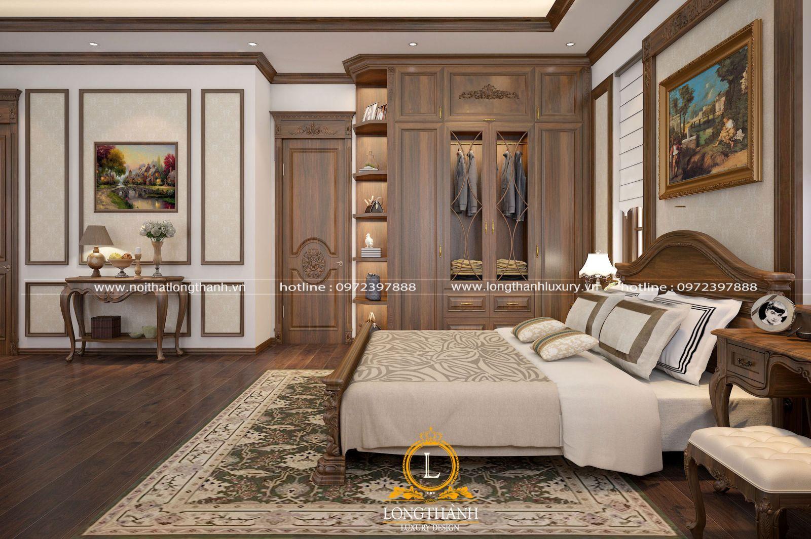 Combo giường tủ tân cổ điển từ gỗ tự nhiên