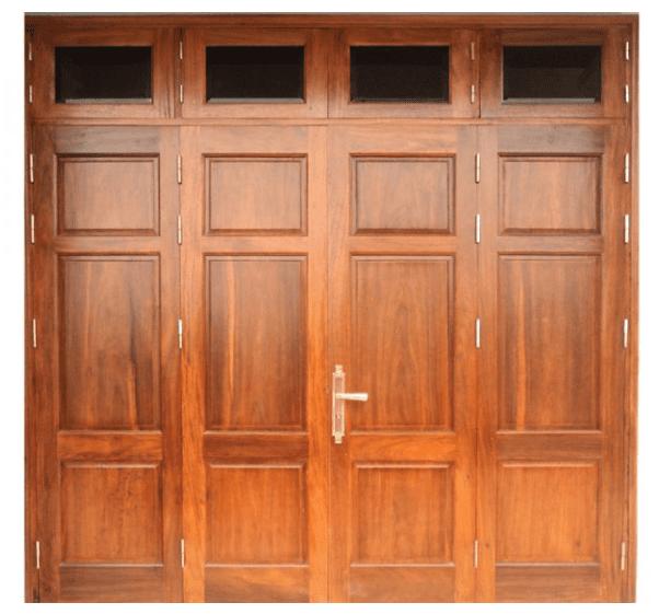 Mẫu cửa 4 cánh được làm từ chất liệu gỗ Sồi