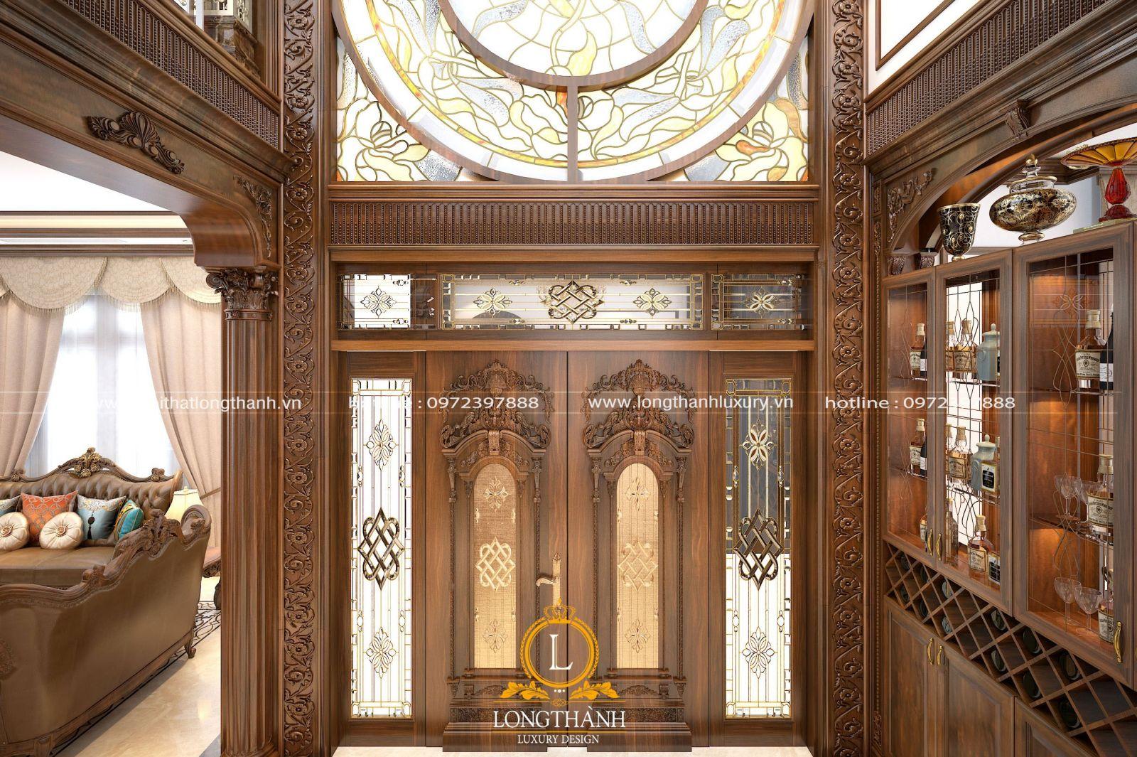 Cửa gỗ kính tân cổ điển với thiết kế tinh tế kiểu dáng sang trọng hiện đại