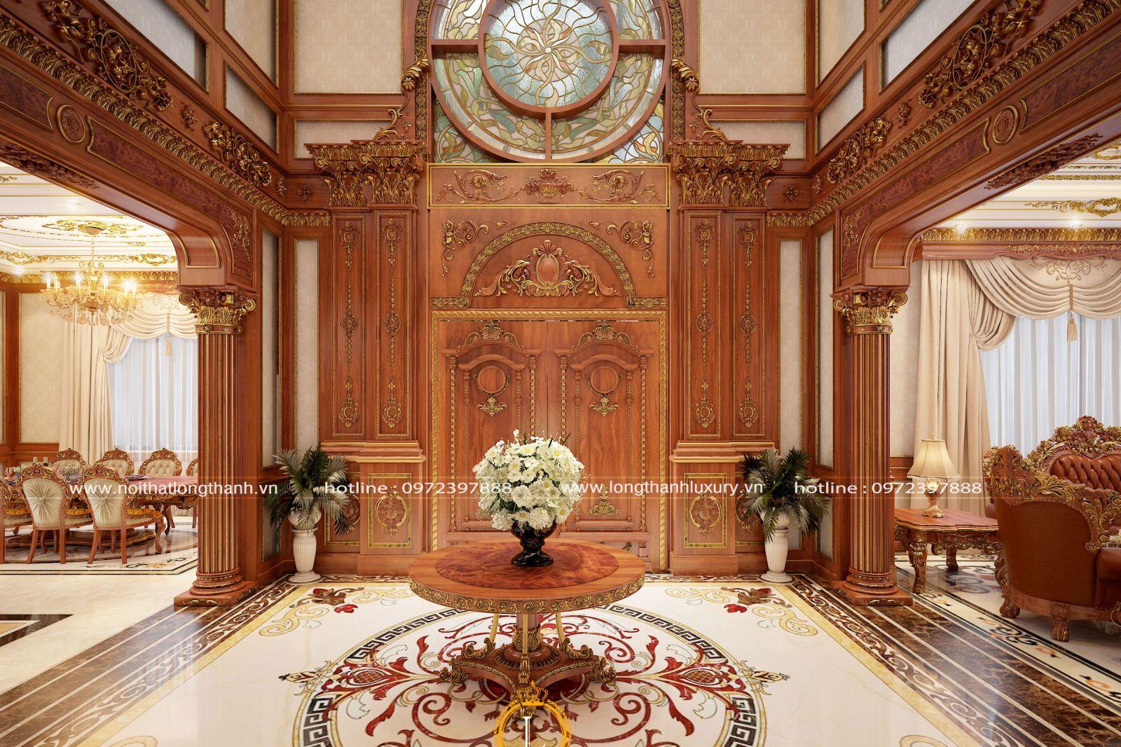 Cửa gỗ gõ đỏ tân cổ điển hoàng gia lộng lẫy