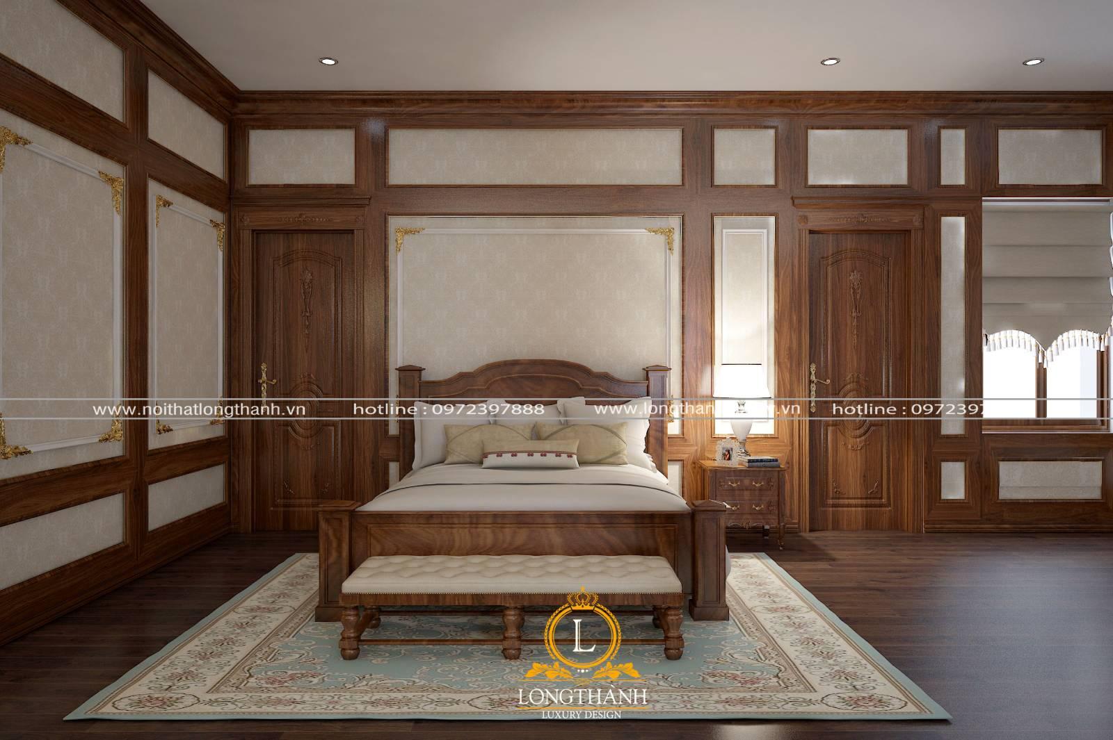 Cửa gỗ phòng ngủ tân cổ điển sử dụng gỗ óc chótự nhiên