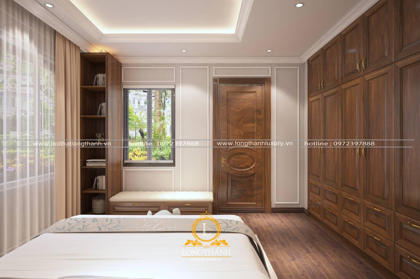 Phòng ngủ nhỏ với thiết kế cửa gỗ Sồi nguyên tâm phong cách hiện đại đơn giản