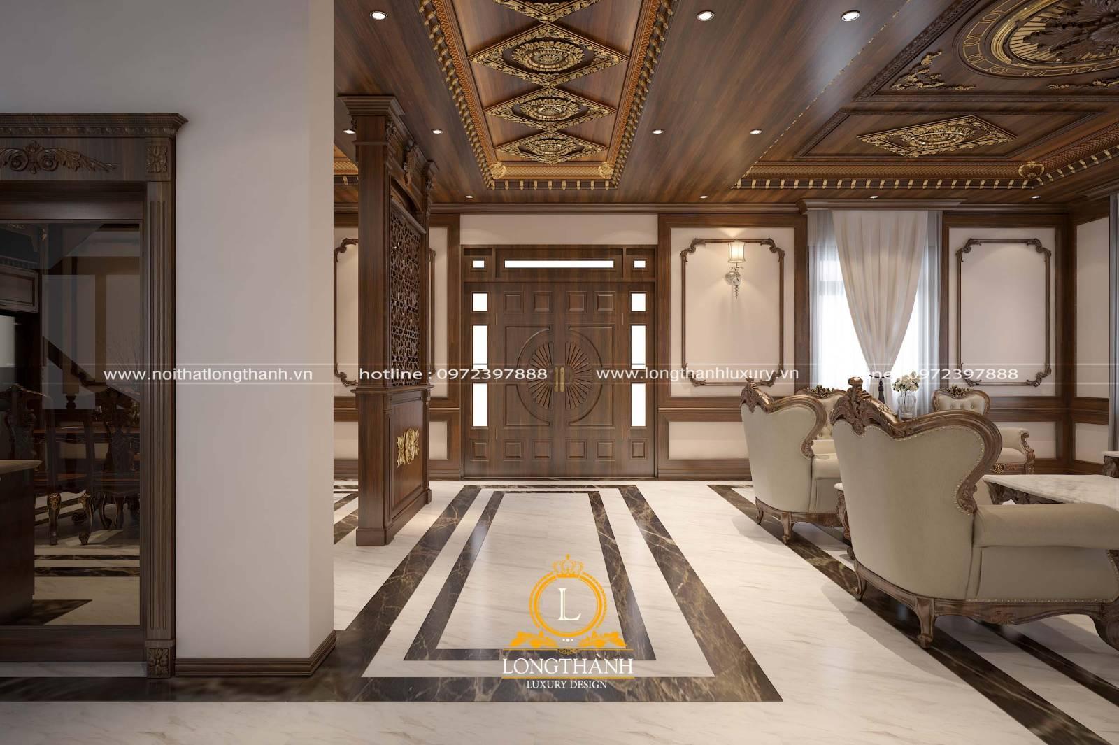 Cửa gỗ sồi phòng khách đồng bộ với thiết kế và màu sắc đồ nội thất