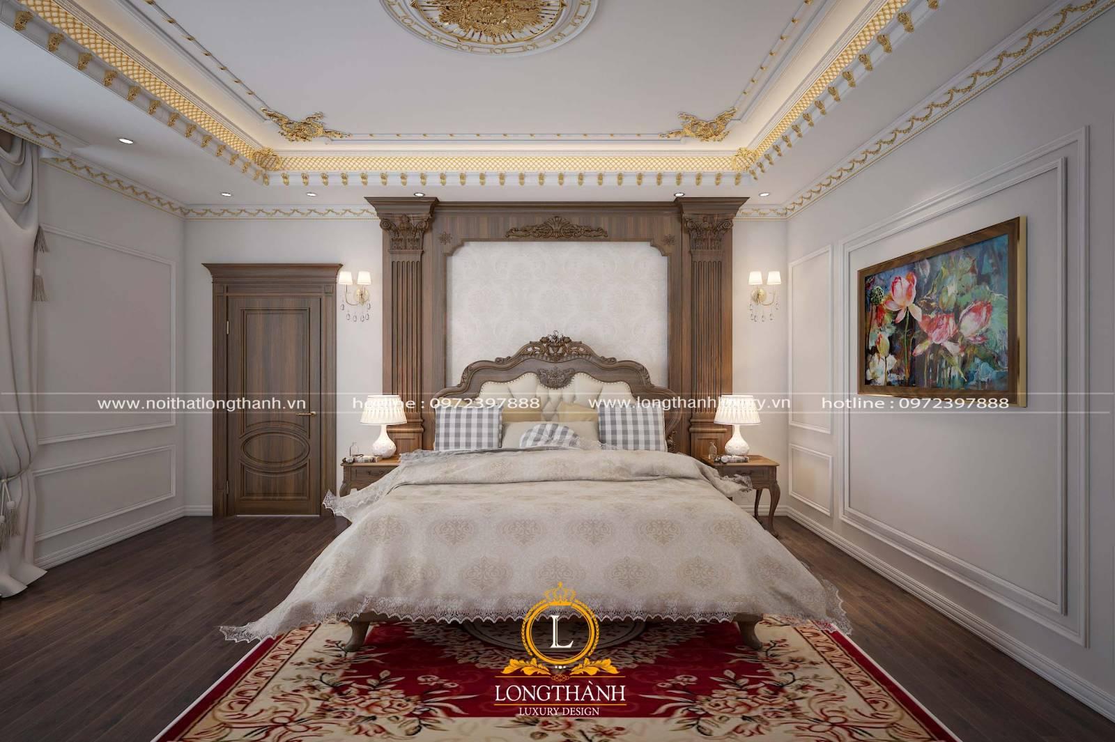 Cửa gỗ sồi sử dụng cho phòng ngủ theo thiết kế tân cổ điển