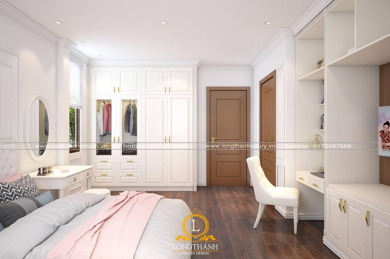 Cửa gỗ sồi tự nhiên cho phòng ngủ với gam màu sáng thanh thoát