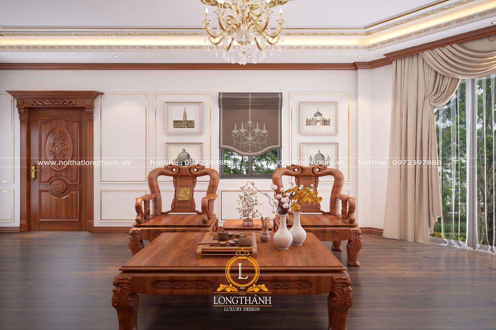 Thiết kế cửa tân cổ điển sang trọng hiện đại làm từ gỗ gõ đỏ