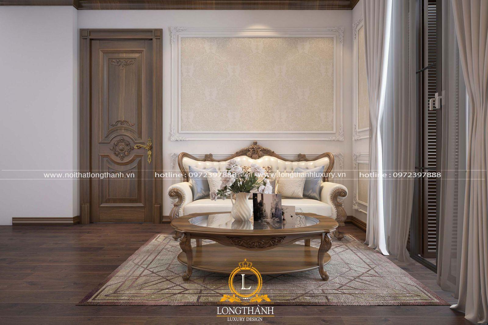 Cửa thông phòng phòng khách và phòng ngủ làm từgỗ tự nhiên cao cấp