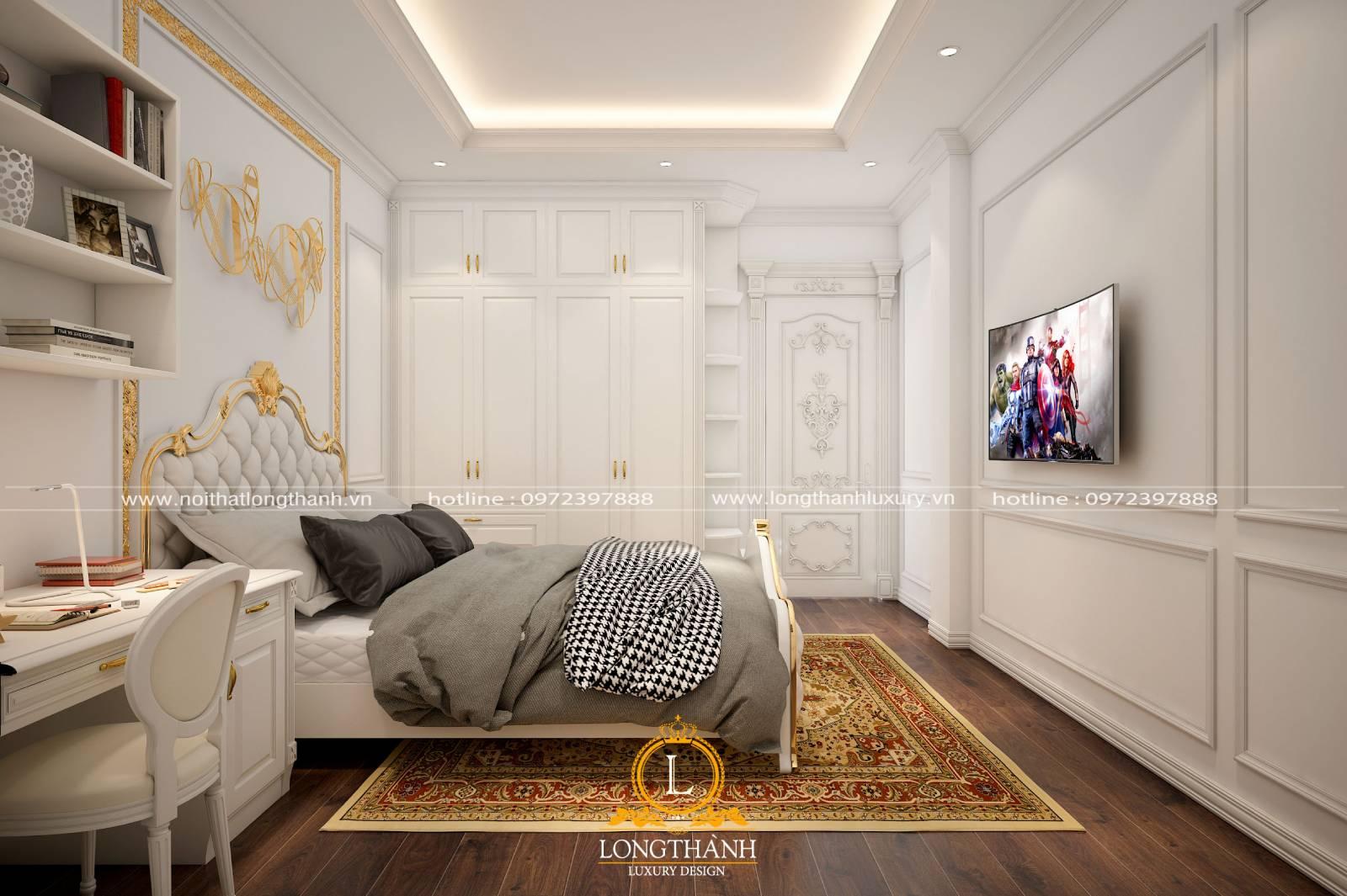 Cửa gỗ tự nhiên cho phòng ngủ hiện đại với màu sơn trắng cao cấp