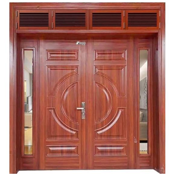 Mẫu cửa gỗ kính 2 cánh đẹp dành cho thiết kế nội thất nhà phố rộng