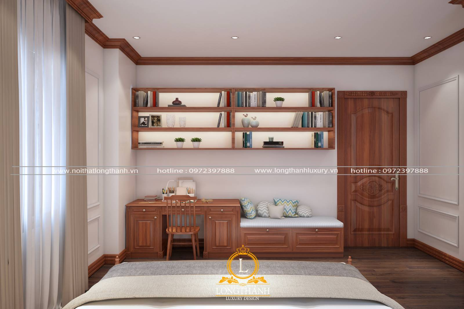 Cửa phòng ngủ nhỏ cho nhà chung cư hiện đại làm từ gỗ Căm xe
