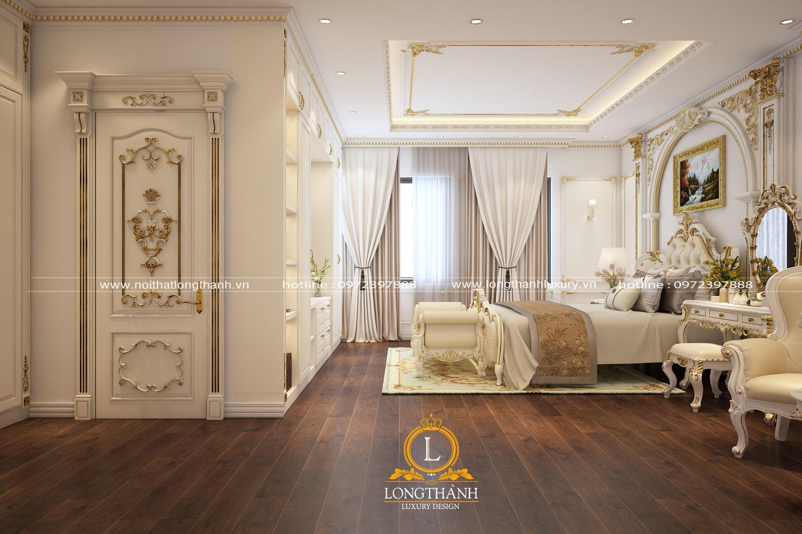 Mẫu cửa gỗ Gõ đỏ sơn trắng dát vàng cho phòng ngủ