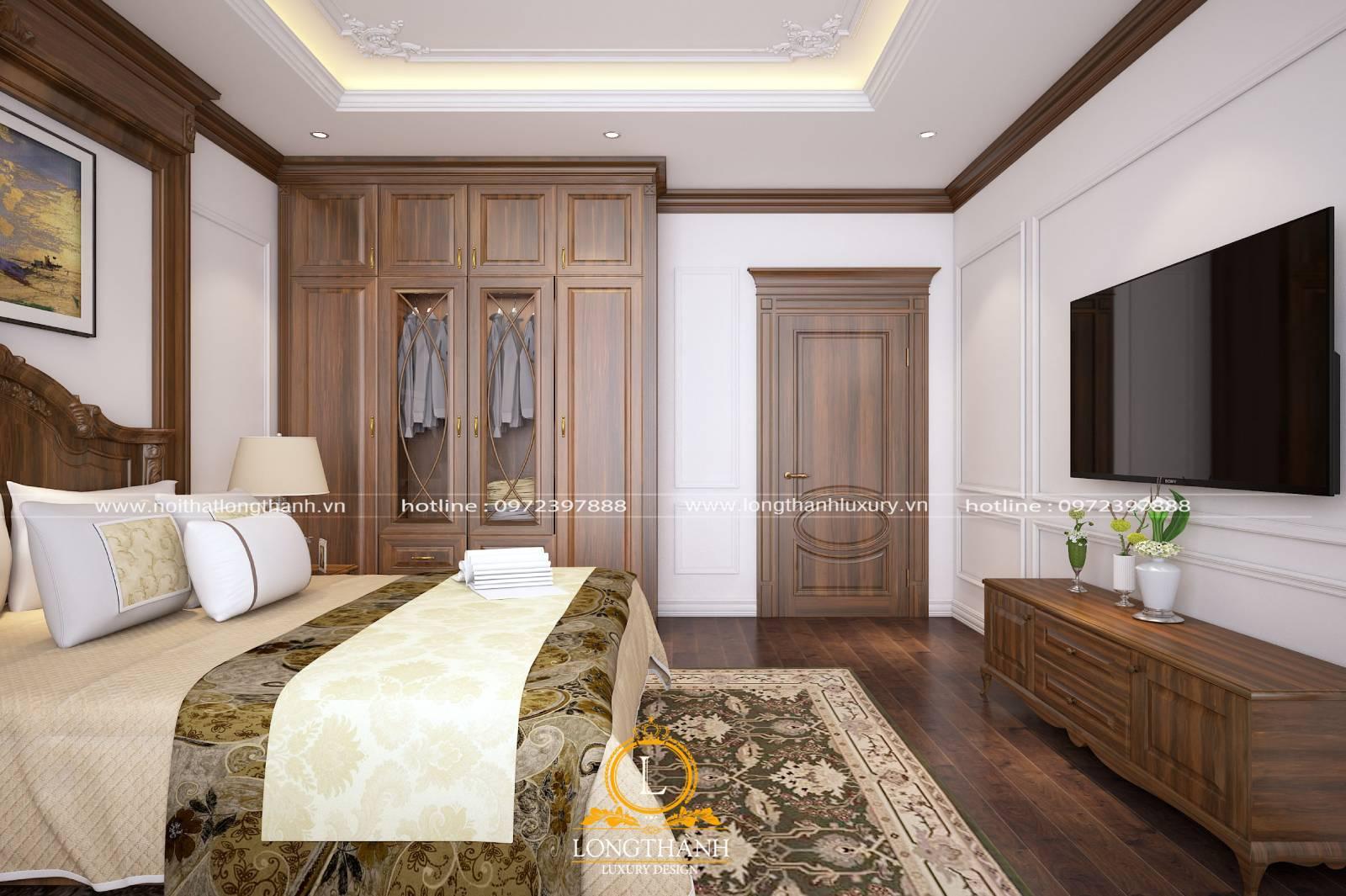 Cửa phòng ngủ sử dụng chất liệu gỗ tự nhiên cao cấp sang trọng