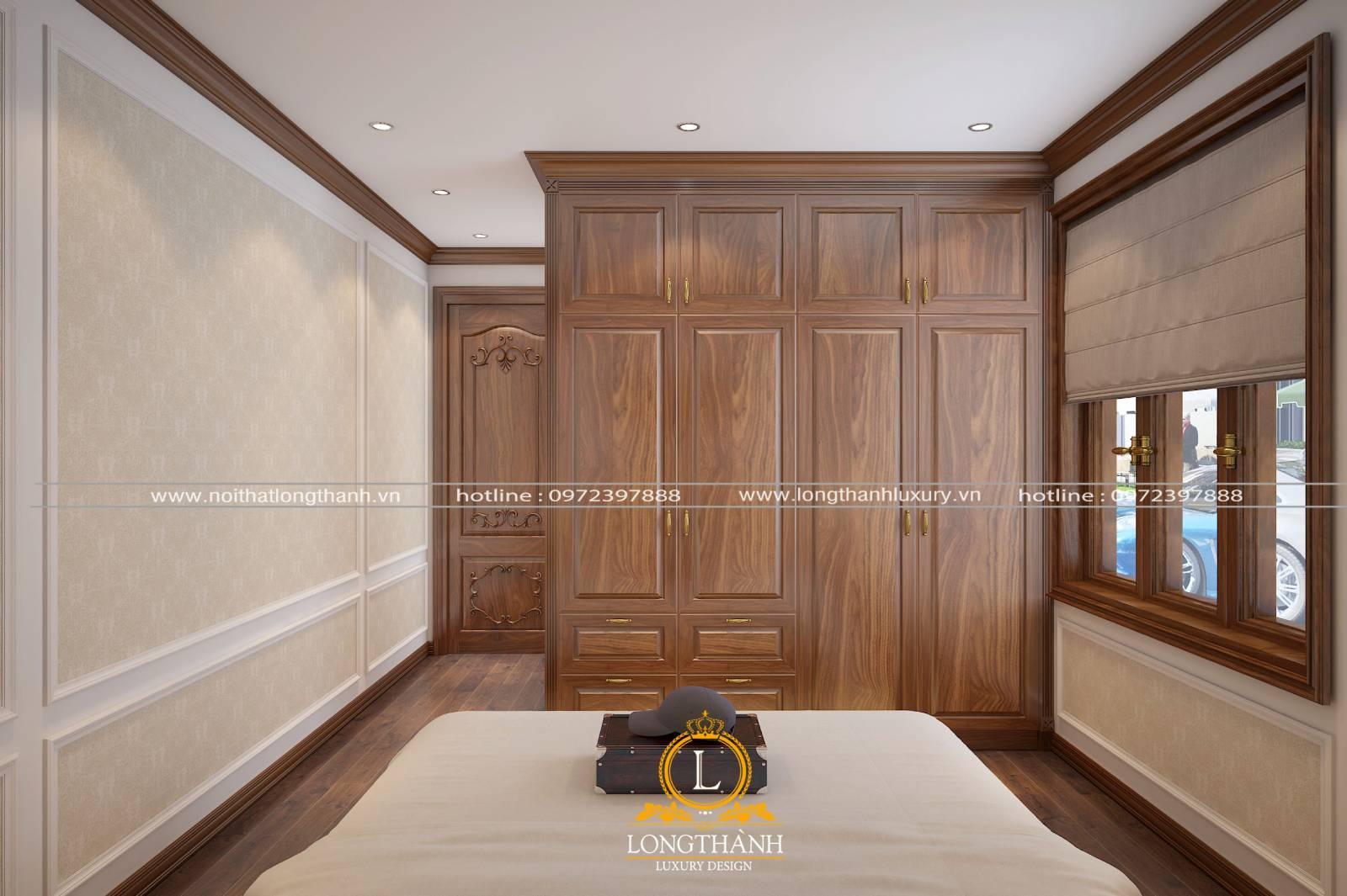 Cửa phòng ngủ tân cổ điển có màu nâu sậm của gỗ tự nhiên