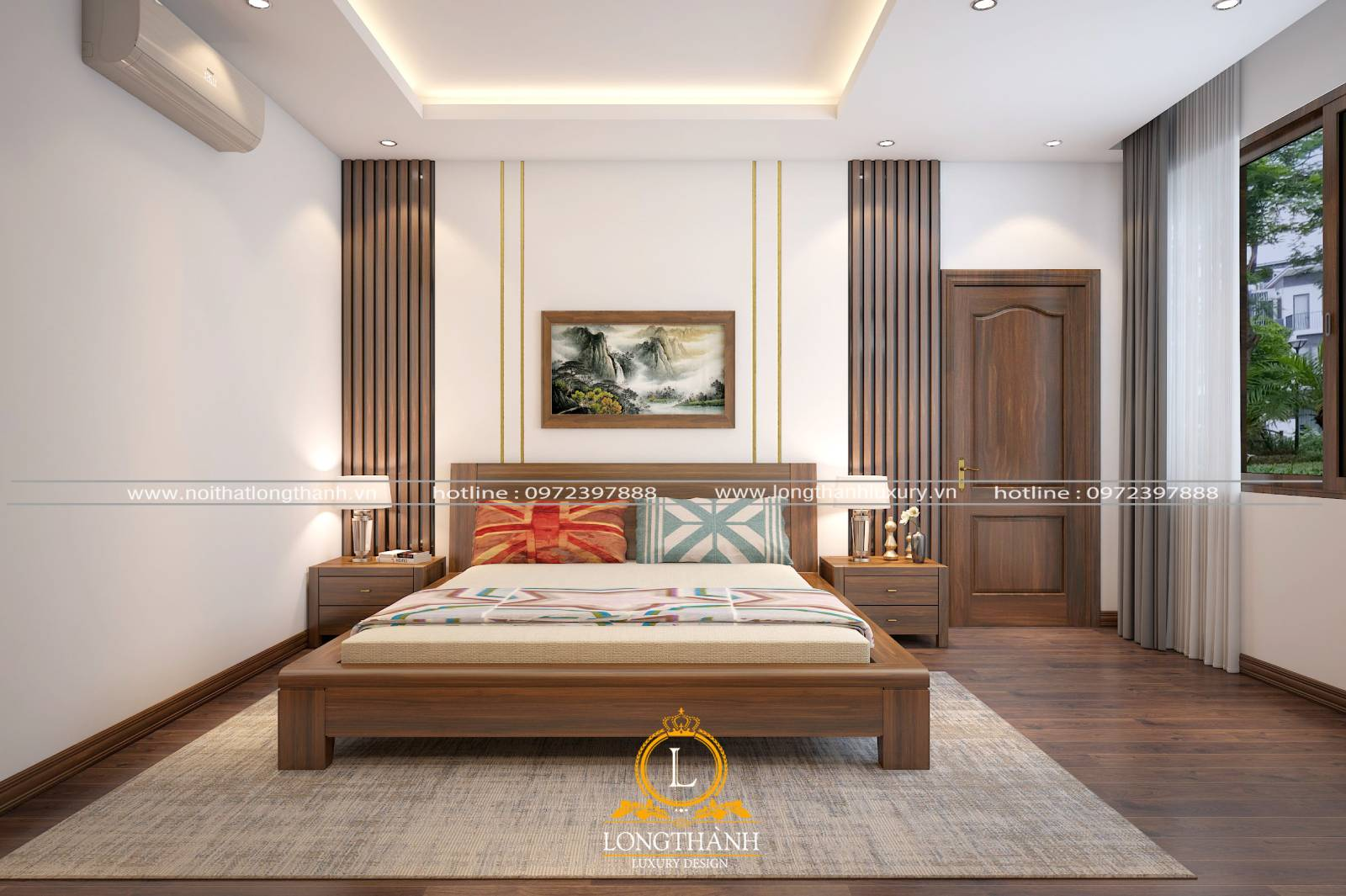 Cửa phòng ngủ tân cổ điển được làm từ gỗ hương cao cấp