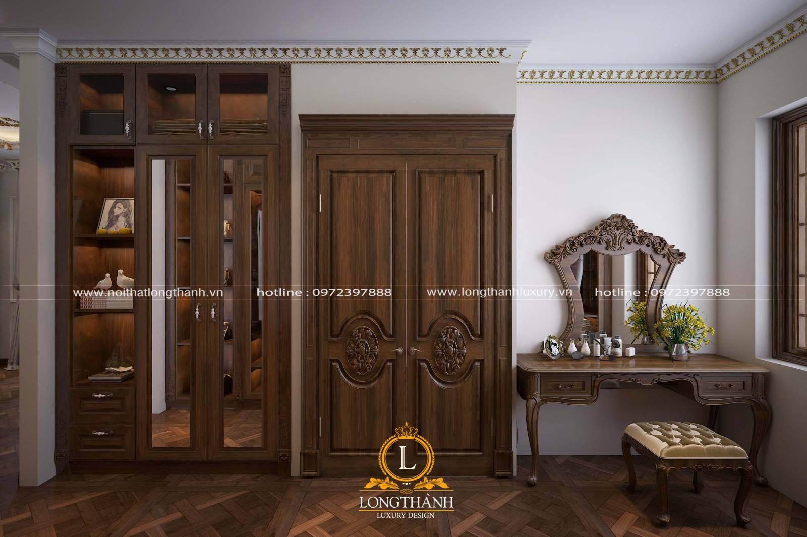 Mãu cửa 2 cánh đẹp phong cách tân cổ điển làm từ gỗ Sồi tự nhiên
