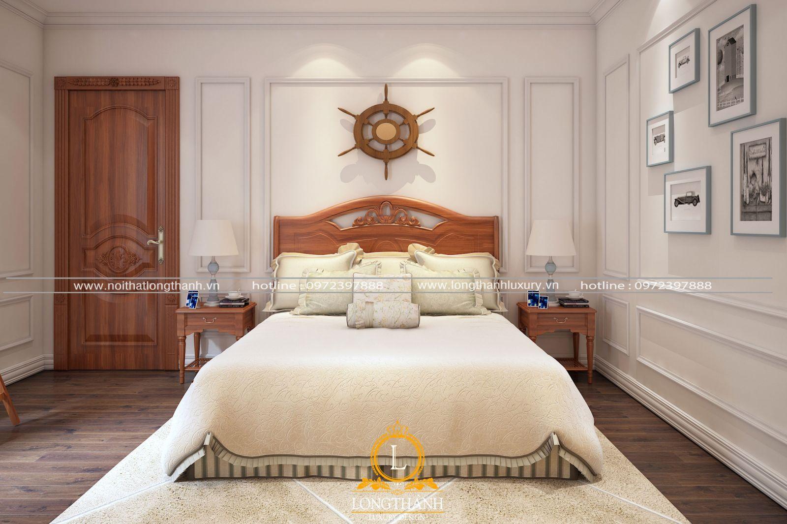 Phòng ngủ đơn giản với cửa tân cổ điển nhẹ nhàng