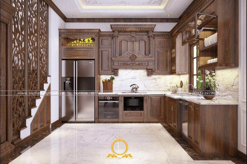 decor căn bếp bằng nội thất gỗ tự nhiên