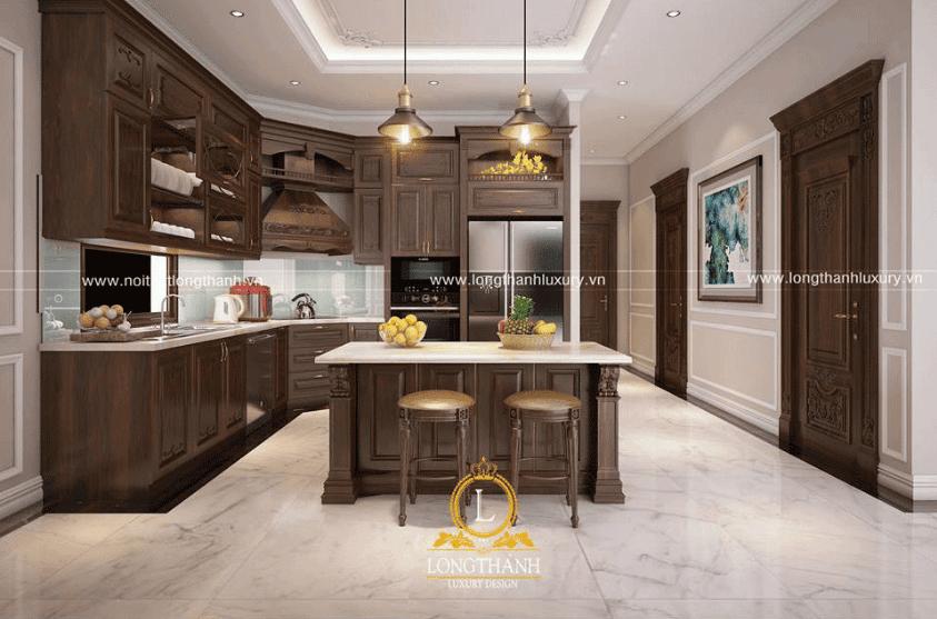 Trang trí phòng bếp với mẫu bàn đảo hình vuông tinh tế