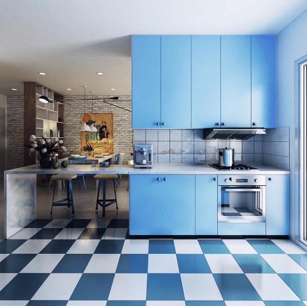 Decor phòng bếp với nền lát gạch nổi bật