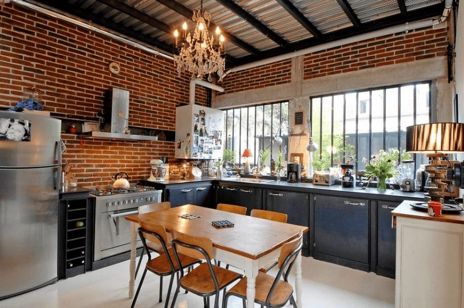 decor phòng bếp bằng tường gạch tạo nét phá cách