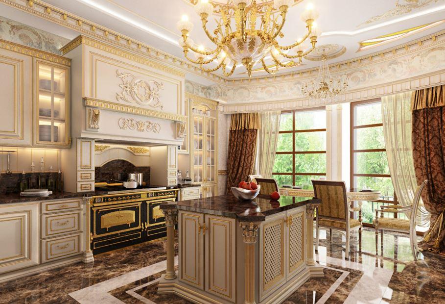 Phòng bếp nhà biệt được trang trí theo kiểu truyền thống nước Nga
