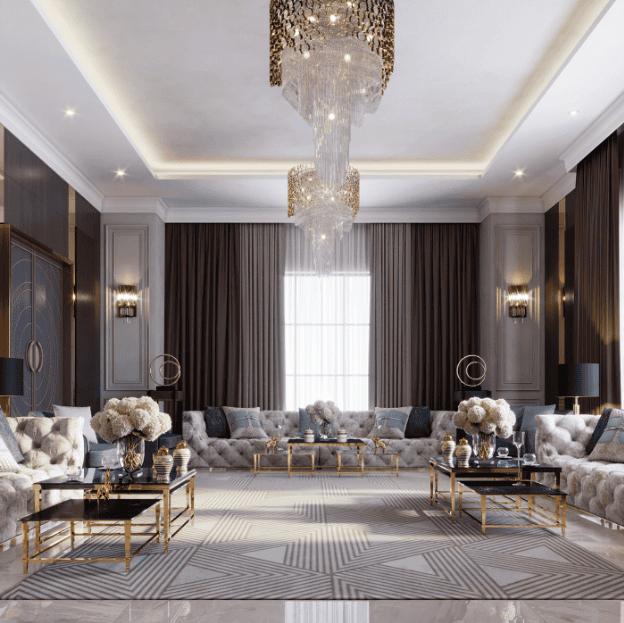 Đèn chùm pha lê cao cấp trong không gian nội thất phong cách Châu Âu