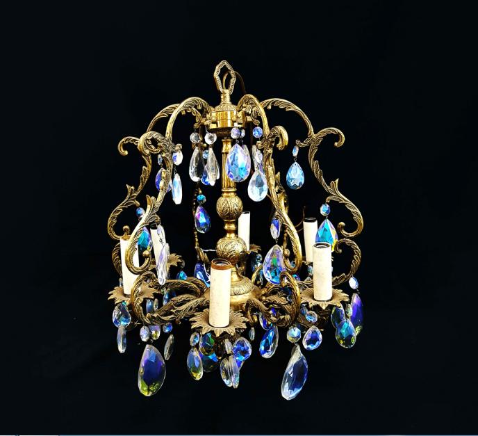 Đèn chùm pha lê bằng đồng phong cách cổ điển cao cấp
