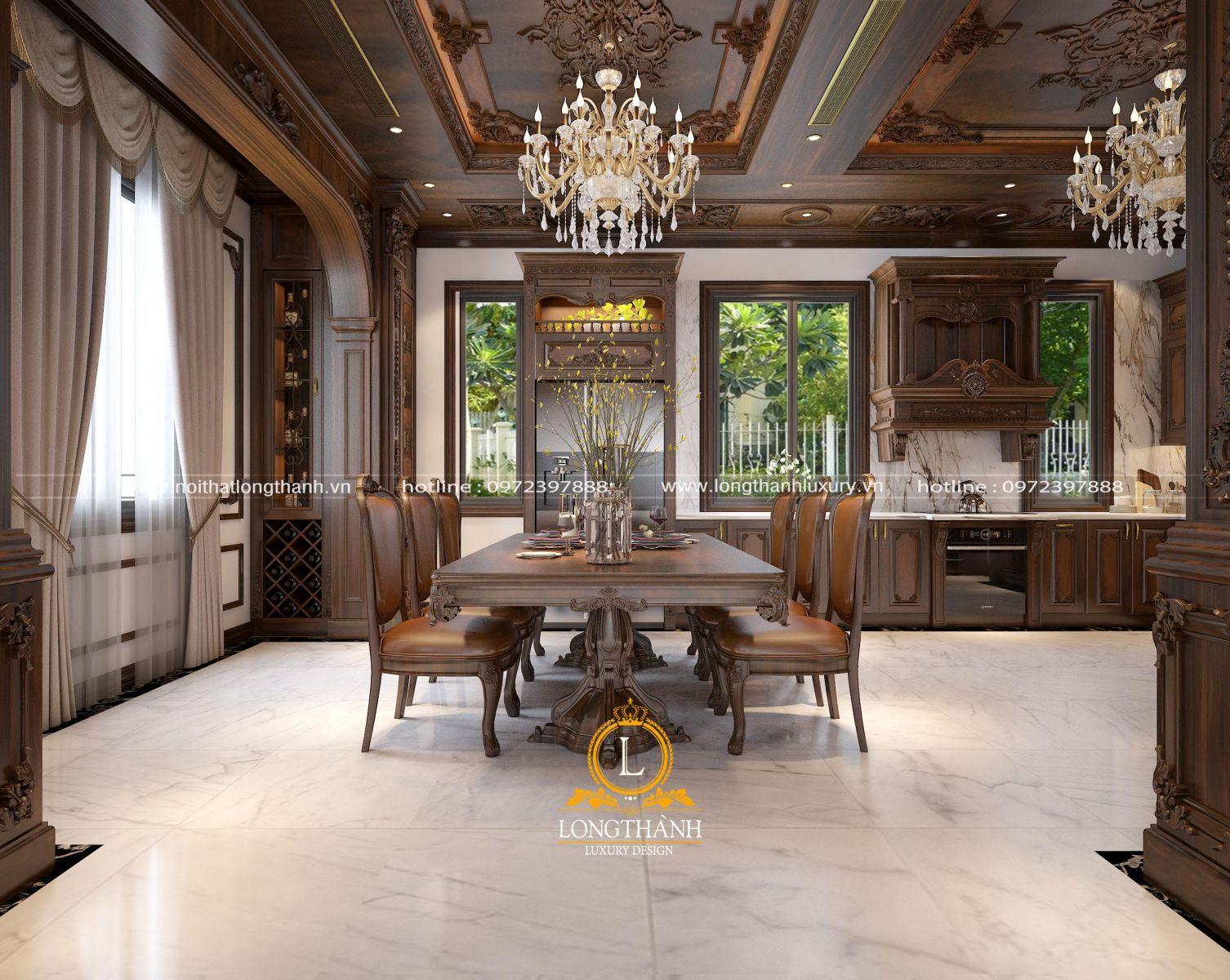 Đèn chùm pha lê làm nổi bật nhiều không gian nội thất Tân cổ điển Long Thành
