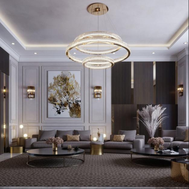 Mâm của đèn chùm thả được làm từ nguyên liệu inox mạ vàng cao cấp không gì đảm bảo độ bền cao cho người dùng