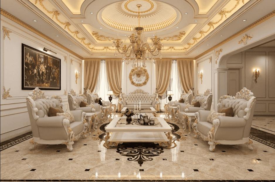 Đèn chùm pha lê thả phòng khách kết hợp trần thạch cao dát vàng