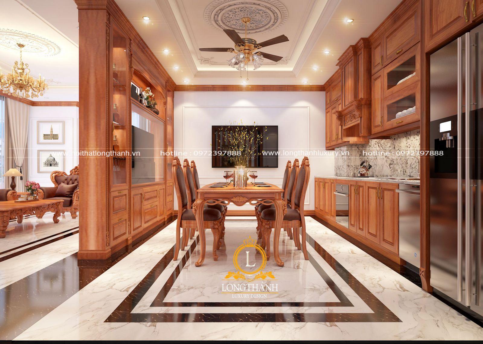 Đèn quạt pha lê cao cấp phù hợp không gian phòng ăn phong cách Tân cổ điển Nội thất Long Thành
