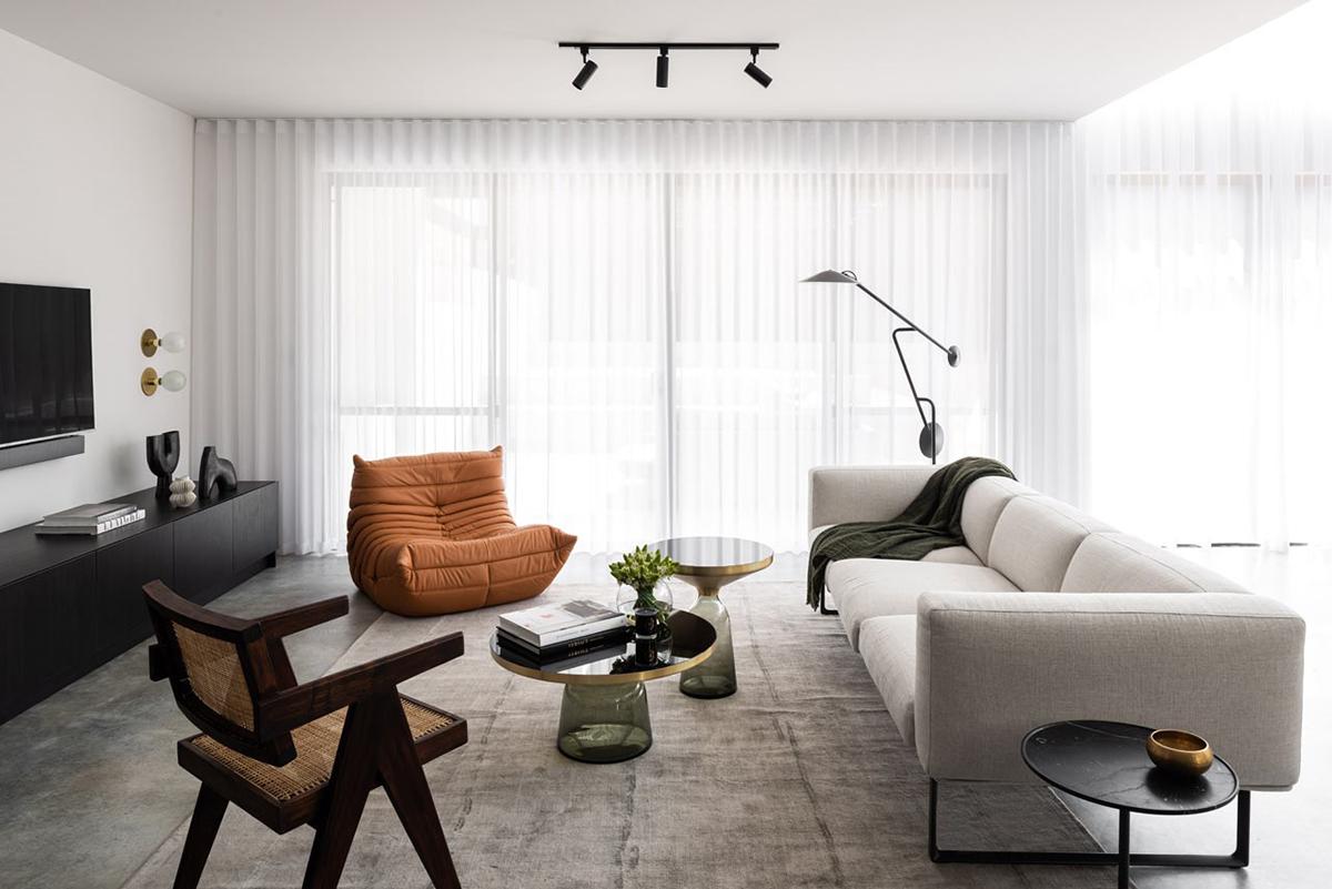 Điểm nhấn phong cách nội thất đương đại ở tone màu sofa bệt màu cam đầy cảm hứng