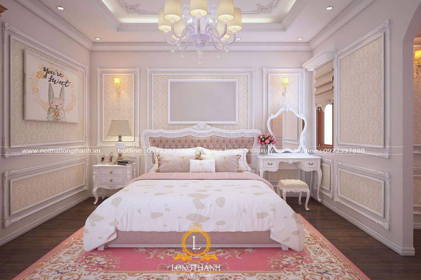 Thiết kế phòng ngủ con gái với tone hồng dễ thương