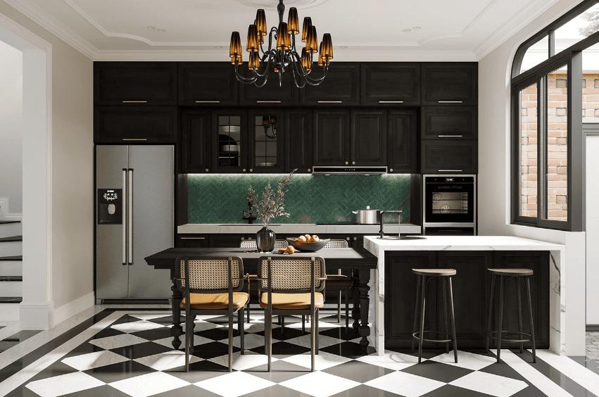 Đồ nội thất đảo bếp và tủ bếp phong cách Indochine