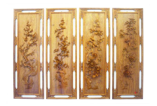 Sản phẩm tranh tứ đồ cho thiết kế phòng thờ với chất liệu gỗ Ngọc am cao cấp