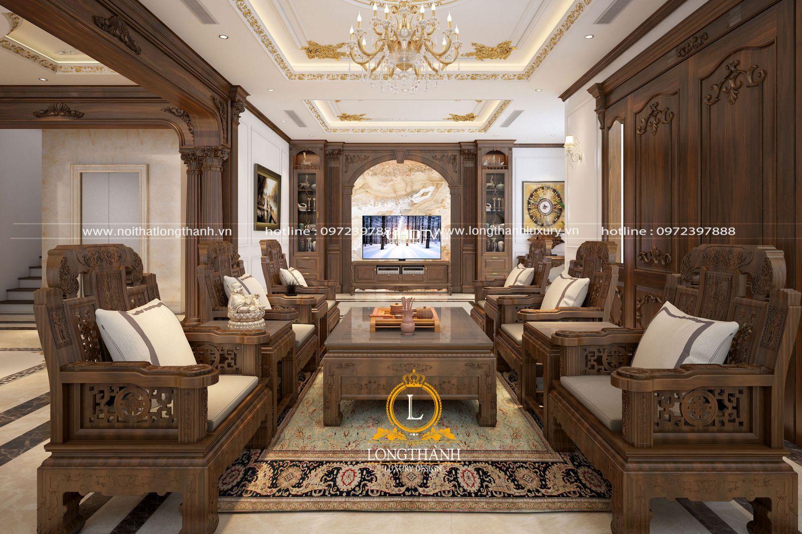 Những bức tranh và đèn trùm cho phòng khách đậm chất tân cổ điển