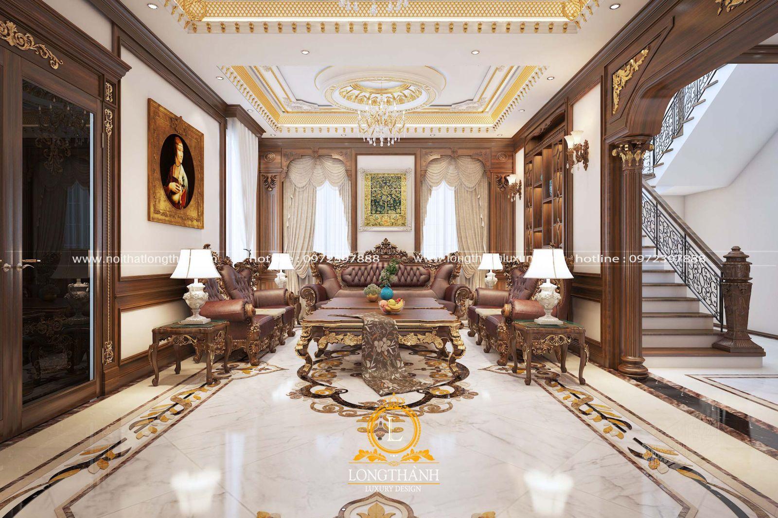 Rèm cửa trang trí phòng khách biệt thự với màu sắc nhẹ nhàng