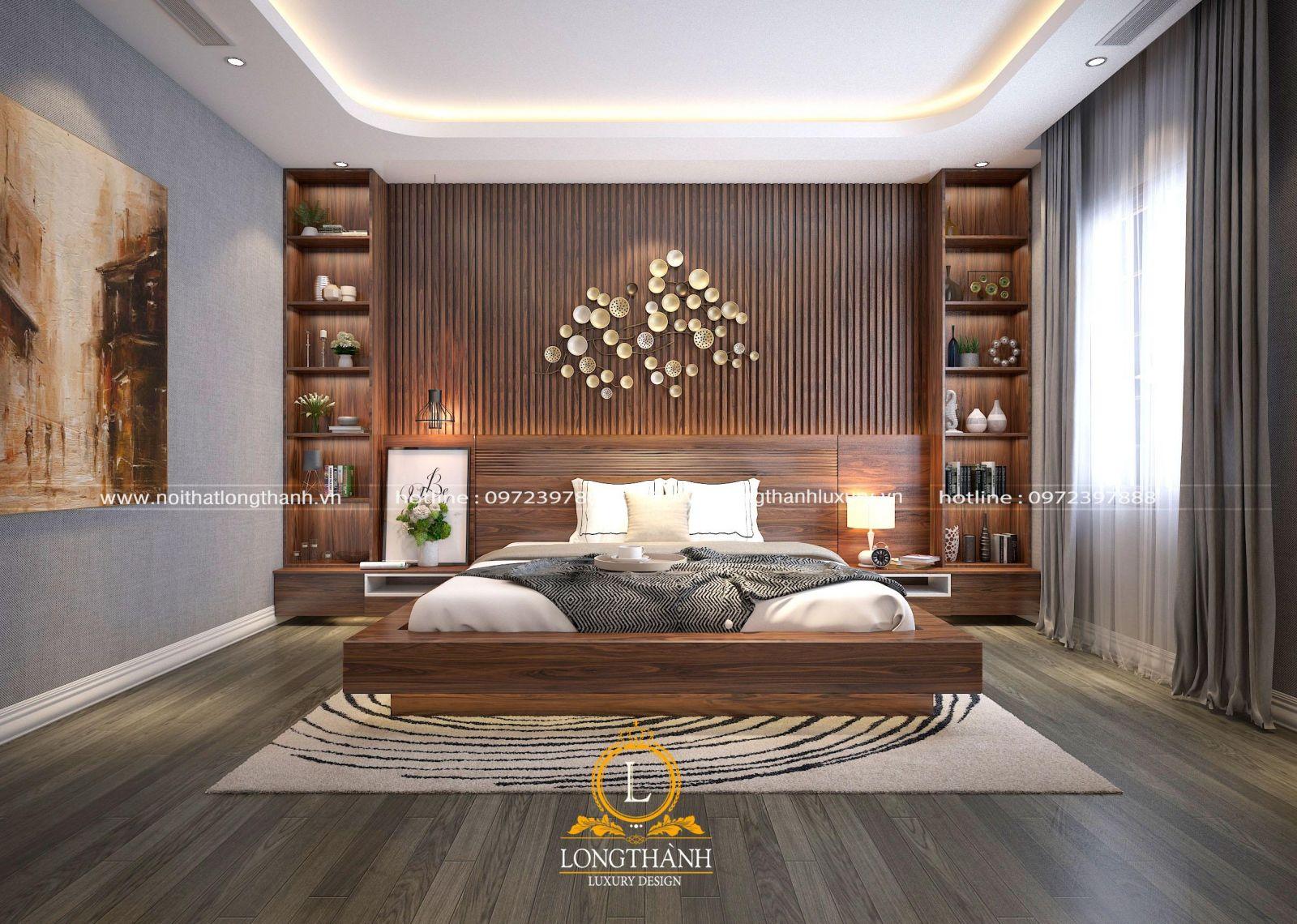 Phòng ngủ hiện đại với nội thất gỗ tự nhiên trầm ấm