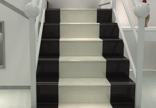 Cầu thang gạch trắng đen