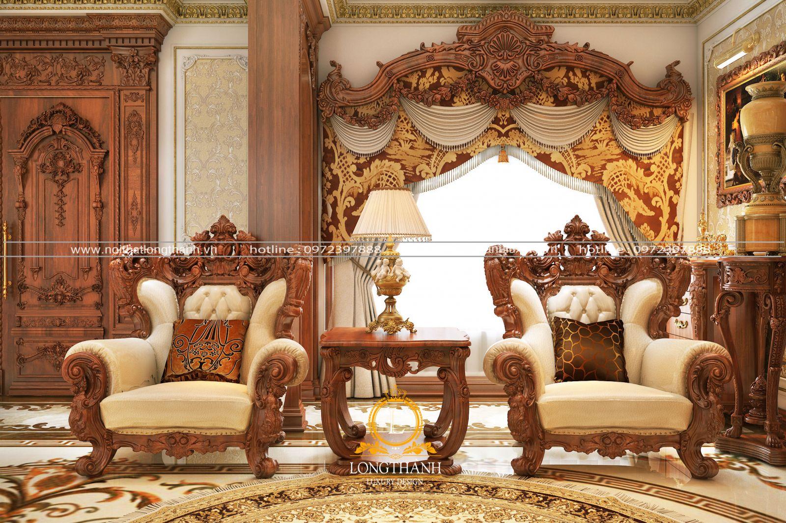Ghế armchair phòng khách tân cổ điển