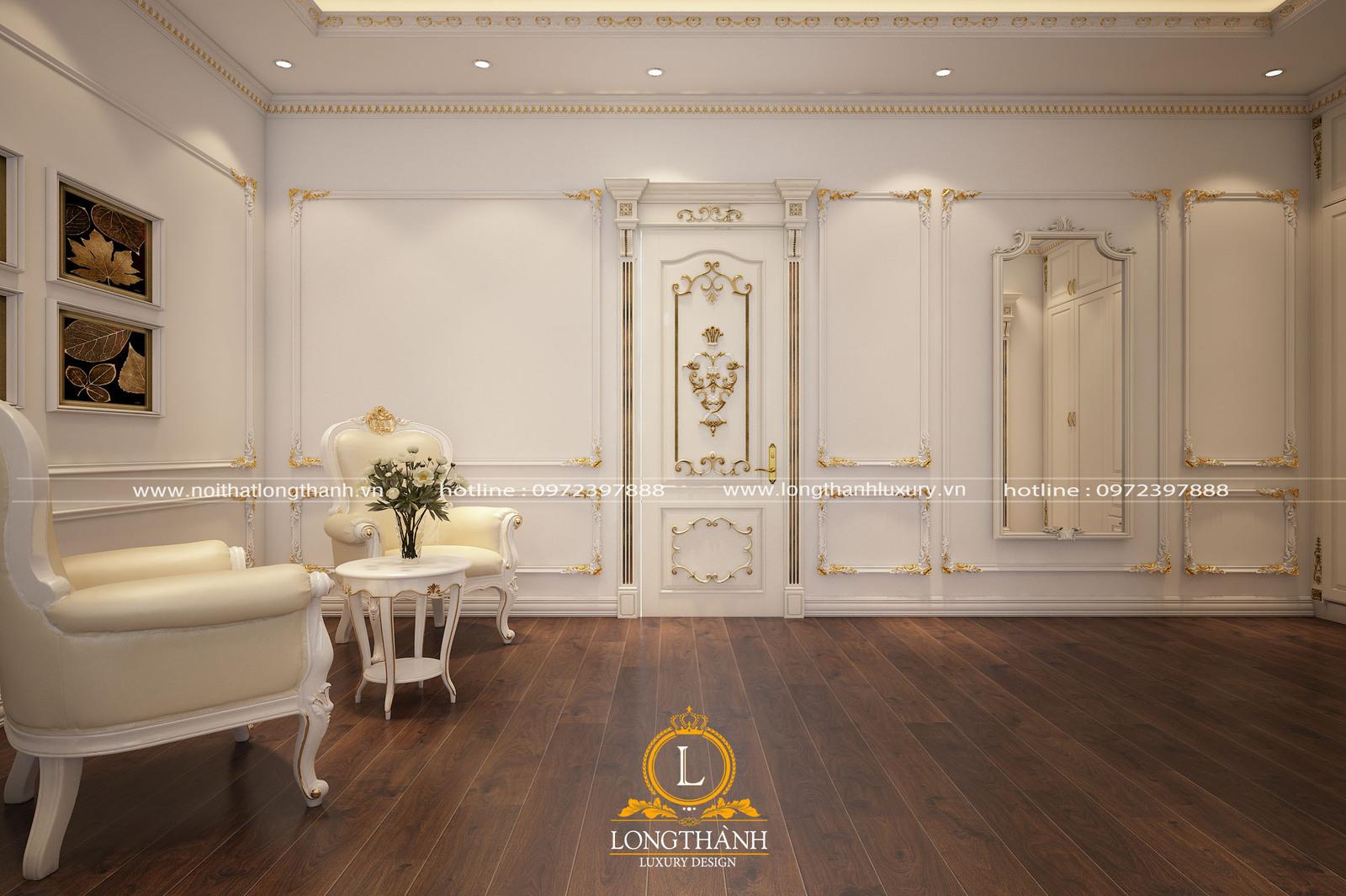 Không gian phòng ngủ tân cổ điển sơn trắng sang trọng và tinh tế