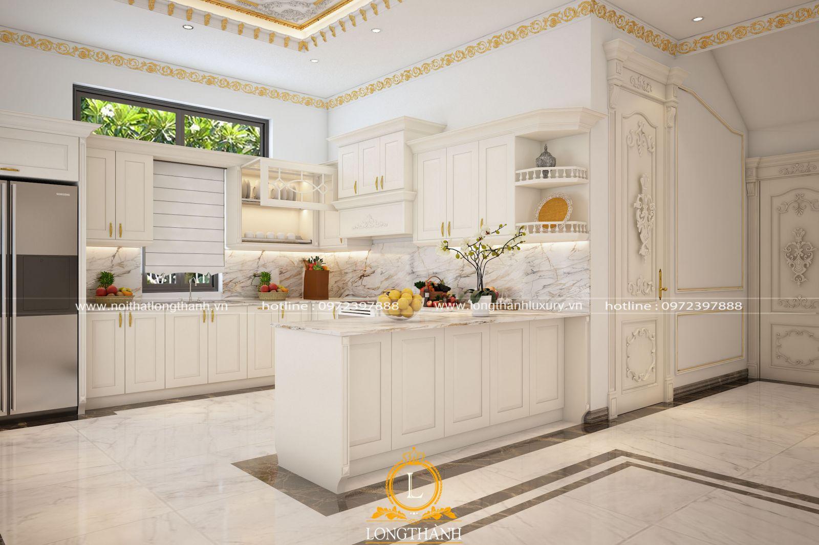 Giản lược họa tiết cho không gian tinh tế cùng mẫu tủ bếp tân cổ điển sơn trắng