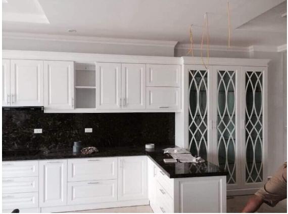 Mẫu giấy dán tường bếp cho phòng bếp hiện đại mô phỏng màu sắc đá kim sa
