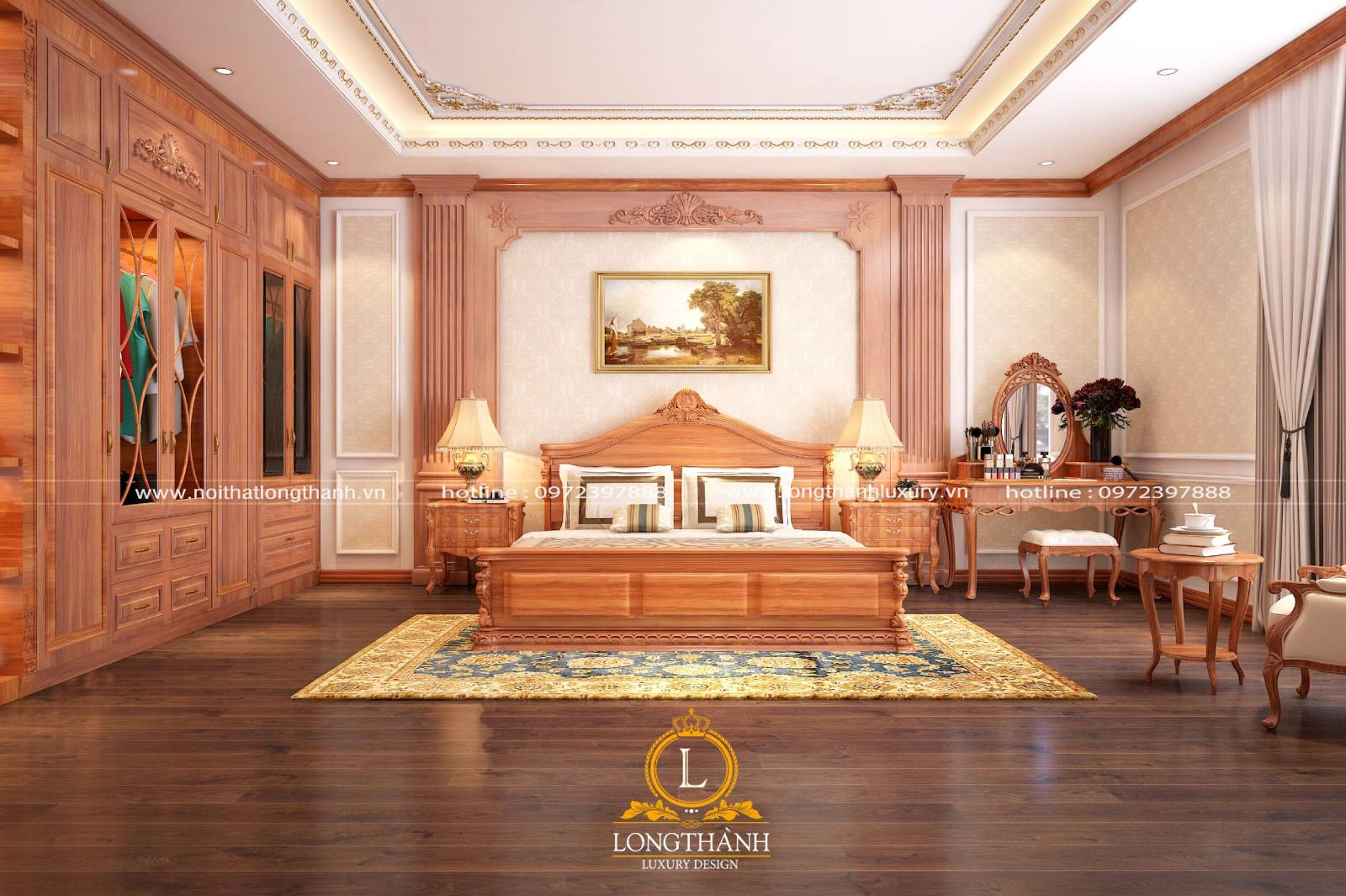 Thiết kế giường ngủ tân cổ điển làm từ gỗ Gõ đỏ đơn giản sang trọng
